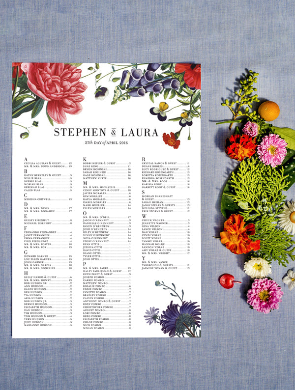 Colour Botanical Illustration Seating Chart