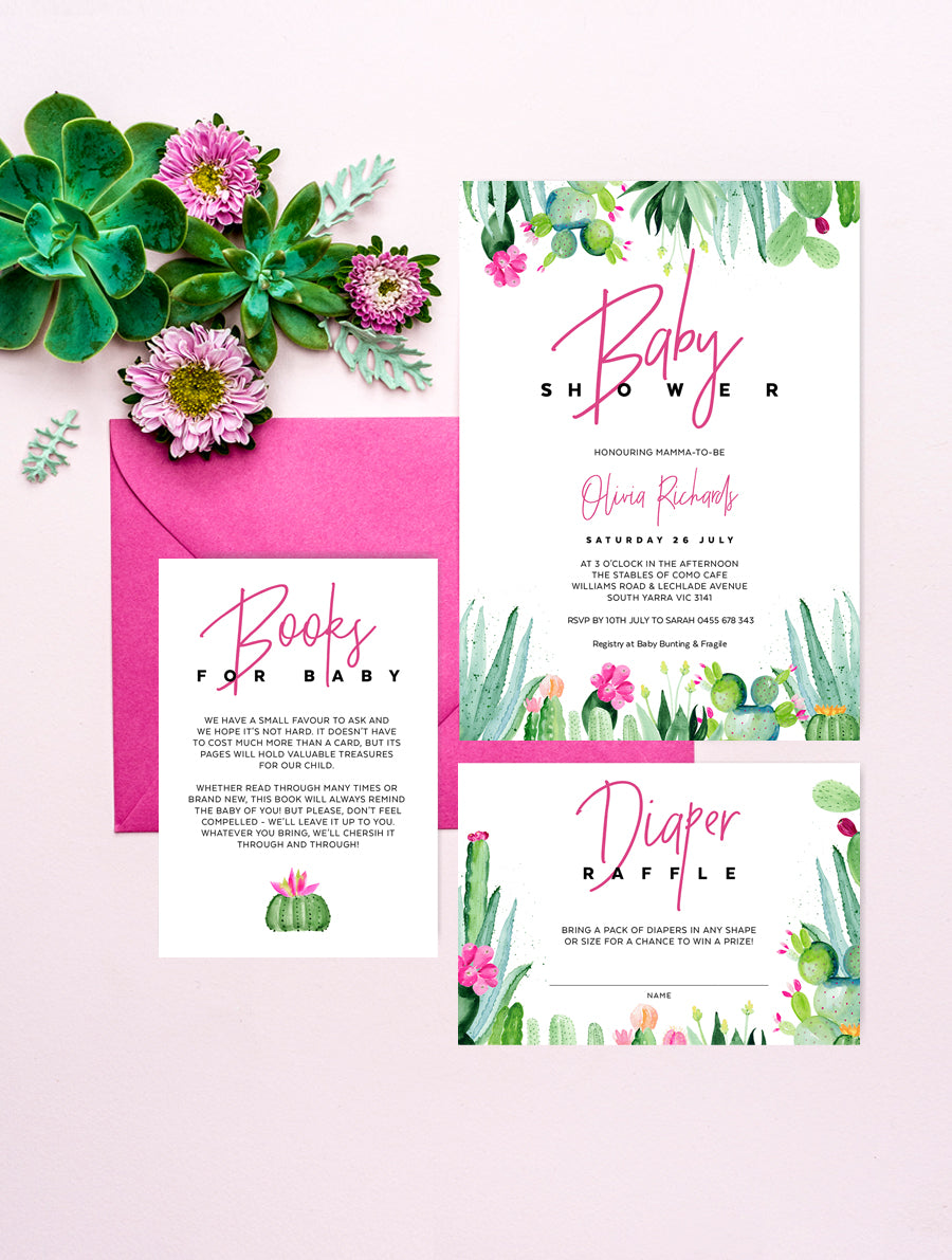 Succulent Cactus Baby Shower Invitation 3P