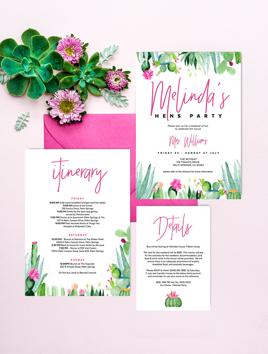Cactus Hens Party Invitation