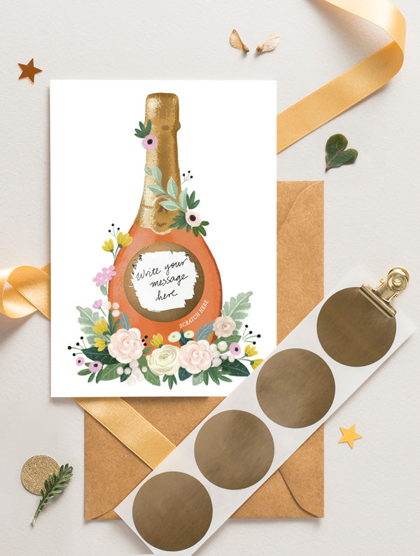 Champagne Bottle Scratch Off Card