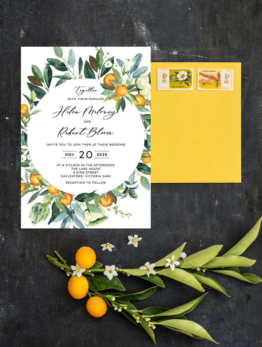 Citrus Wedding Invitation #CIT03 Circle