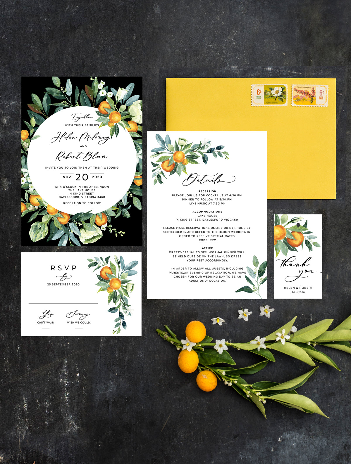 Citrus Wedding Invitation Set #CIT03 Circle