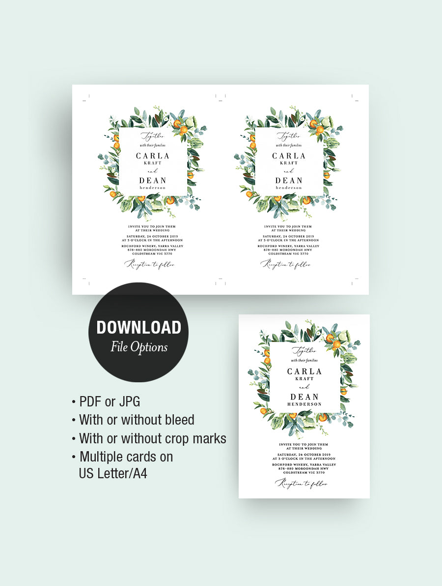 Citrus Wedding Invitation Set #CIT02 Square