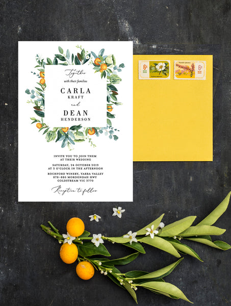 Citrus Wedding Invitation #CIT02 Square