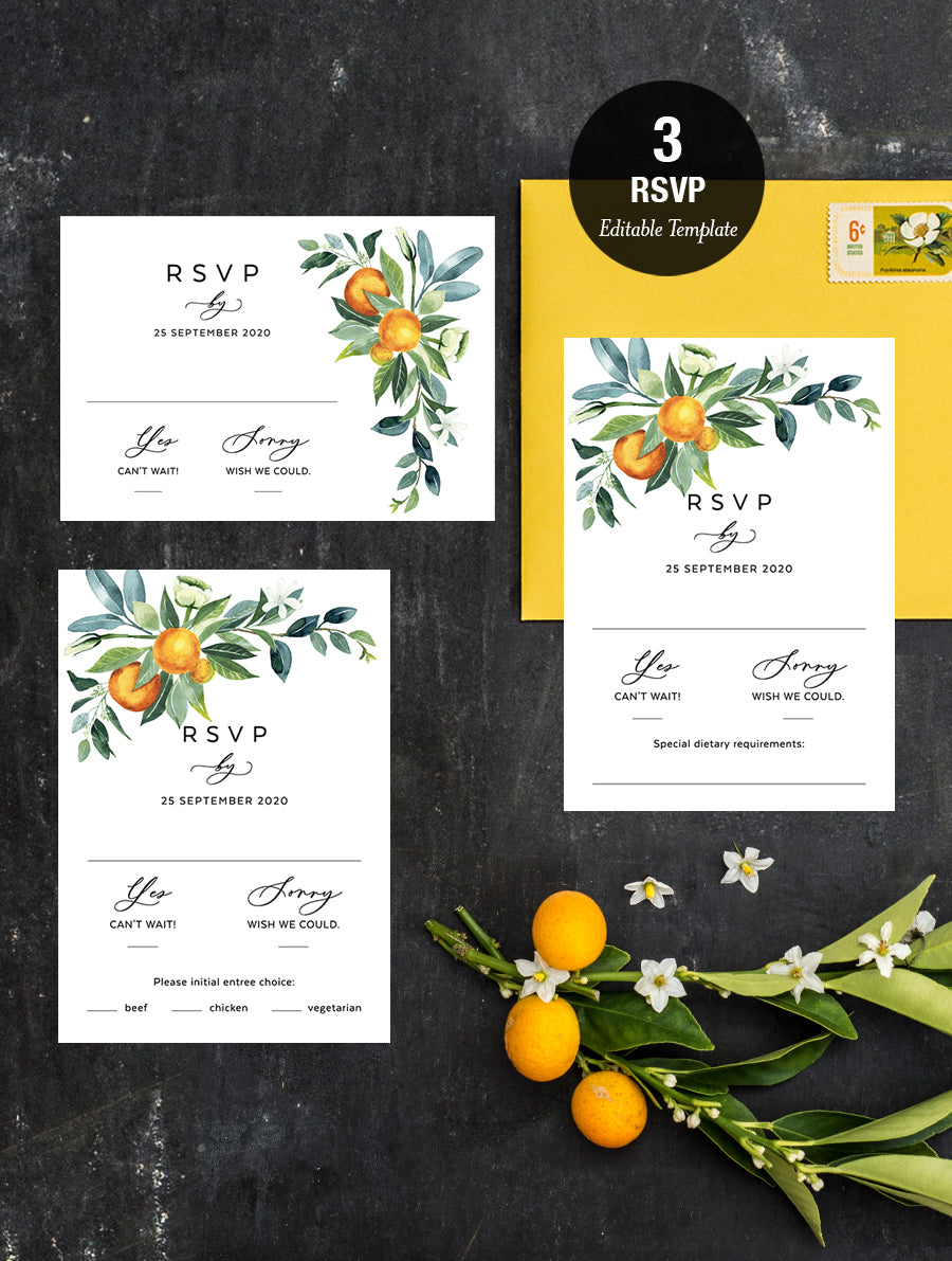 Citrus Wedding Invitation Set #CIT01