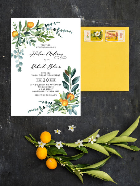 Citrus Wedding Invitation #CIT01