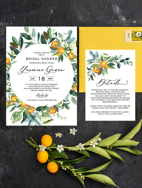 Citrus Bridal Shower Invitation #CIT03