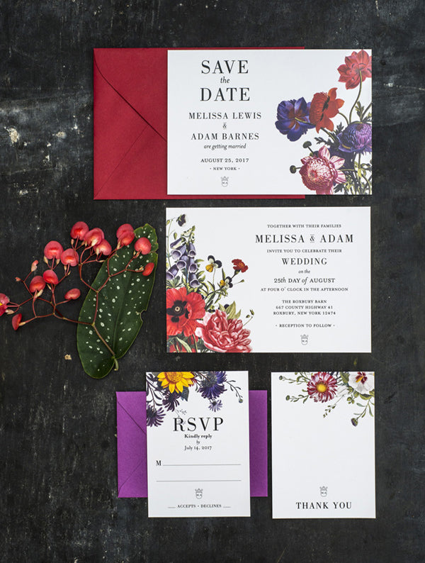 Colour Botanical Illustration Wedding Set