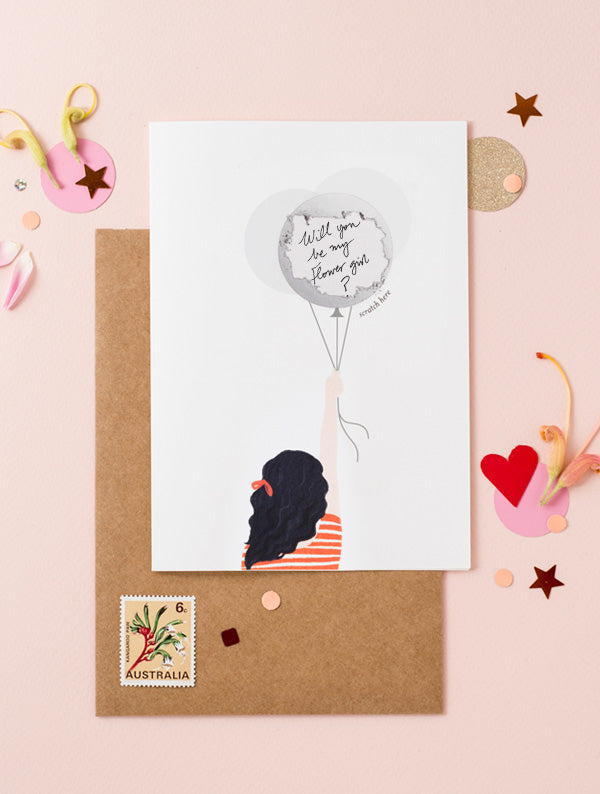 Girl Holding Balloons - Wavy Hair Black