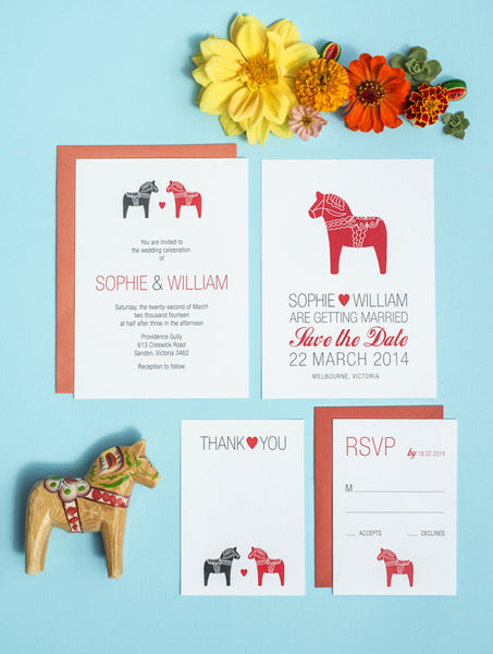 Swedish Dala Horse Wedding Set