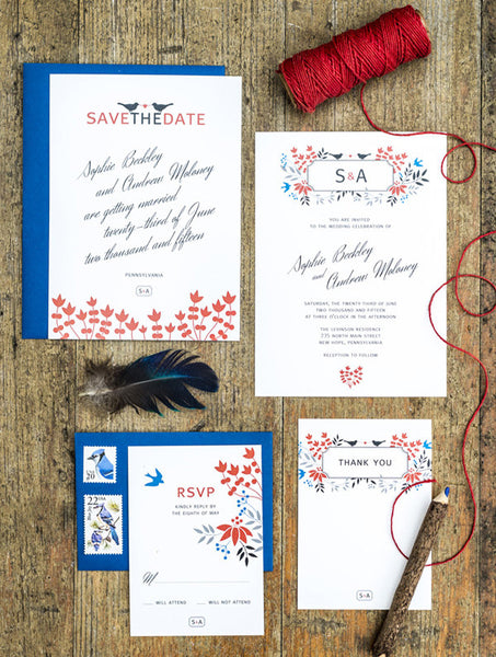 Floral Monogram Love Bird Wedding Set