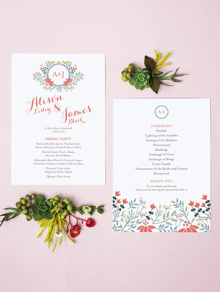 Floral Wreath Love Birds Program