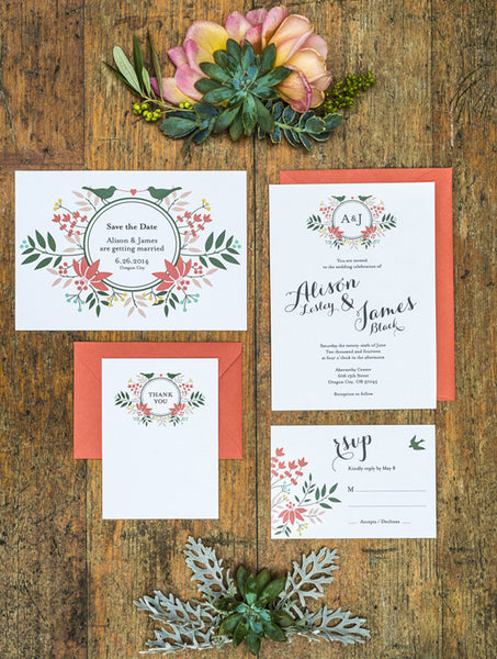 Floral Wreath Love Birds Wedding Set