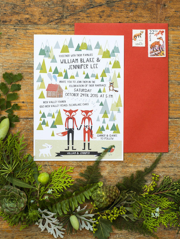 Mr & Mrs Fox Wedding Invitation