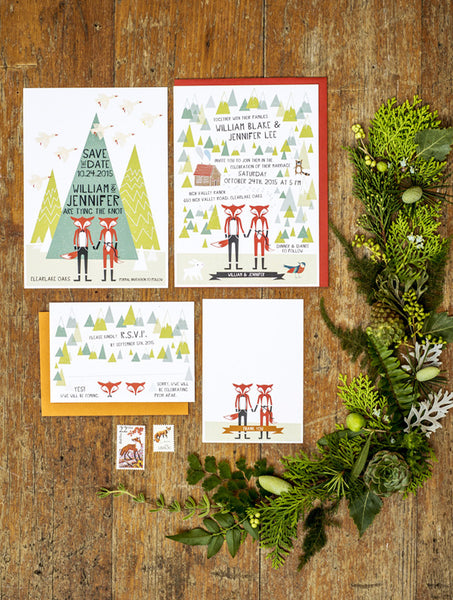 Mr & Mrs Fox Wedding Set