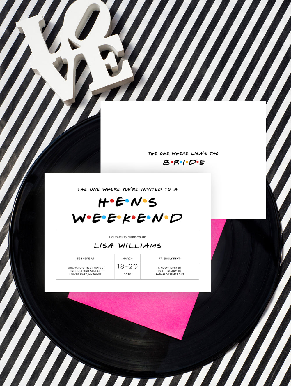 Friends TVShow Hens Party Invitations 3P