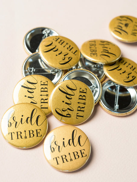 Bride Tribe Button Pins - Gold