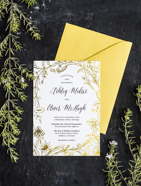 Gold Foil Flower Wedding Invitation