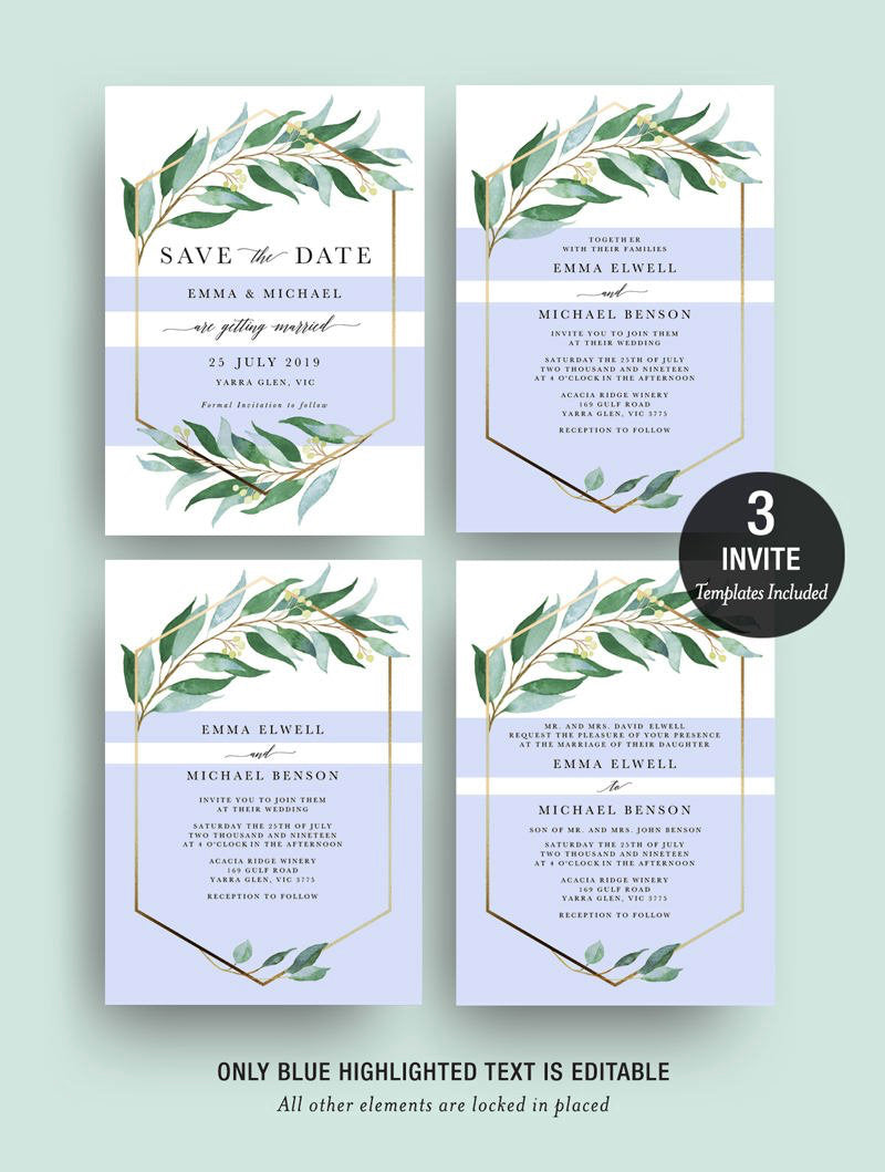 Eucalyptus Greenery Gold Geometric