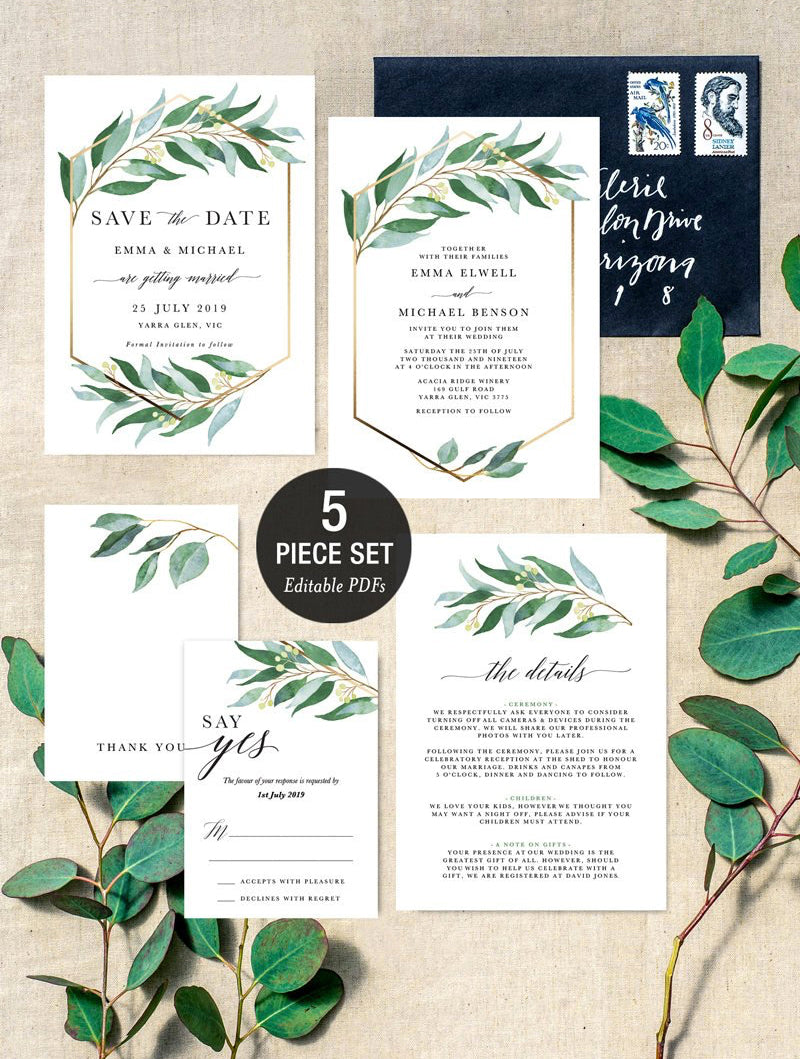 INSTANT DOWNLOAD Eucalyptus Greenery Gold Geometric