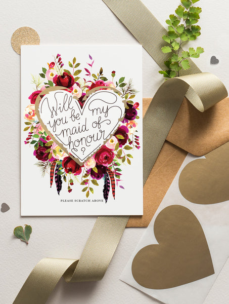 Be My Bridesmaid Scratch Off - Bloom 12