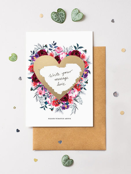 Heart Floral Bloom 15 Scratch Off Card