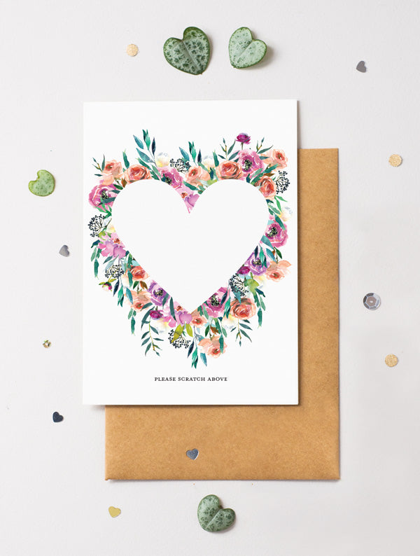 Heart Floral Bloom 16 Scratch Off Card