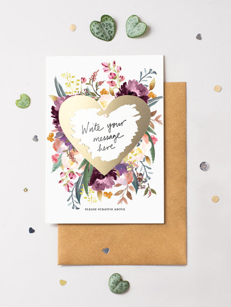 Heart Floral Bloom 17 Scratch Off Card