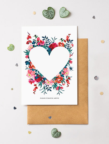 Heart Floral Bloom 11 Scratch Off Card