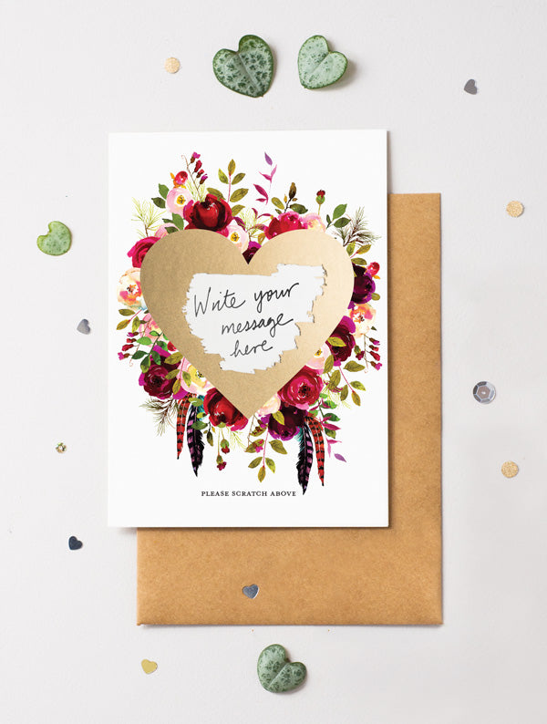 Heart Floral Bloom 12 Scratch Off Card