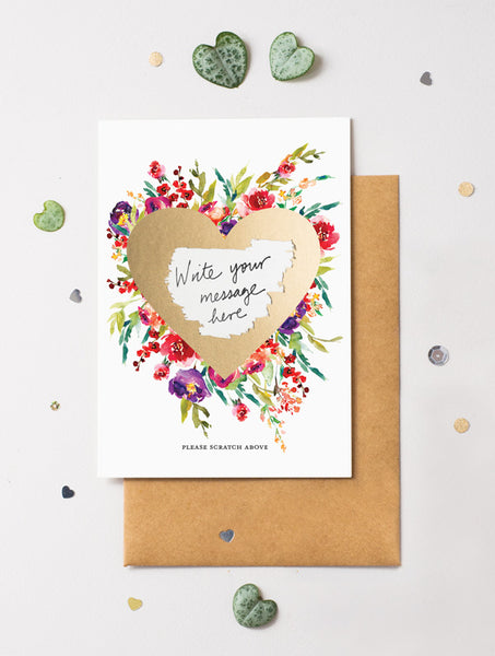 Heart Floral Bloom 13 Scratch Off Card