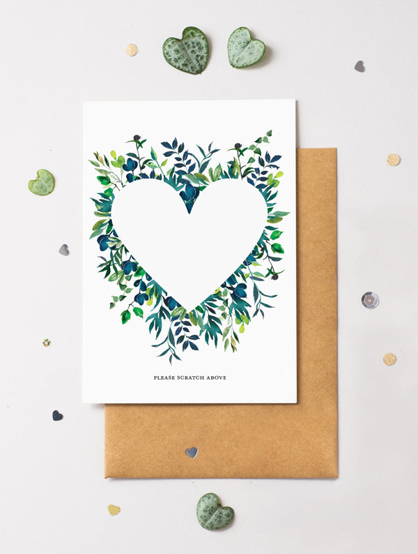 Heart Floral Bloom 14 Scratch Off Card