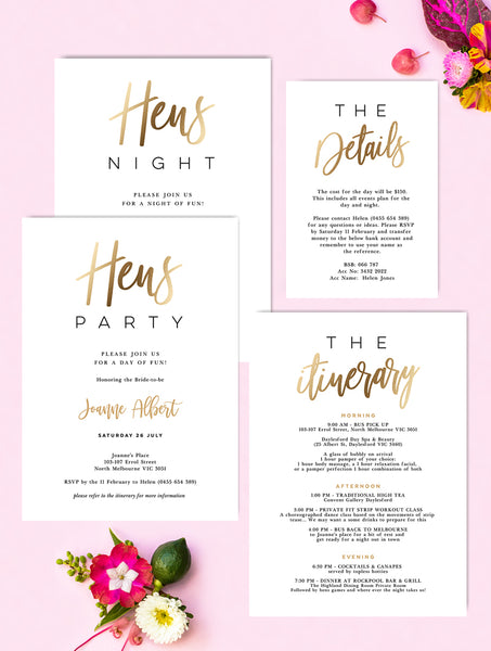 Hens Party Hens Night Invitation Gold