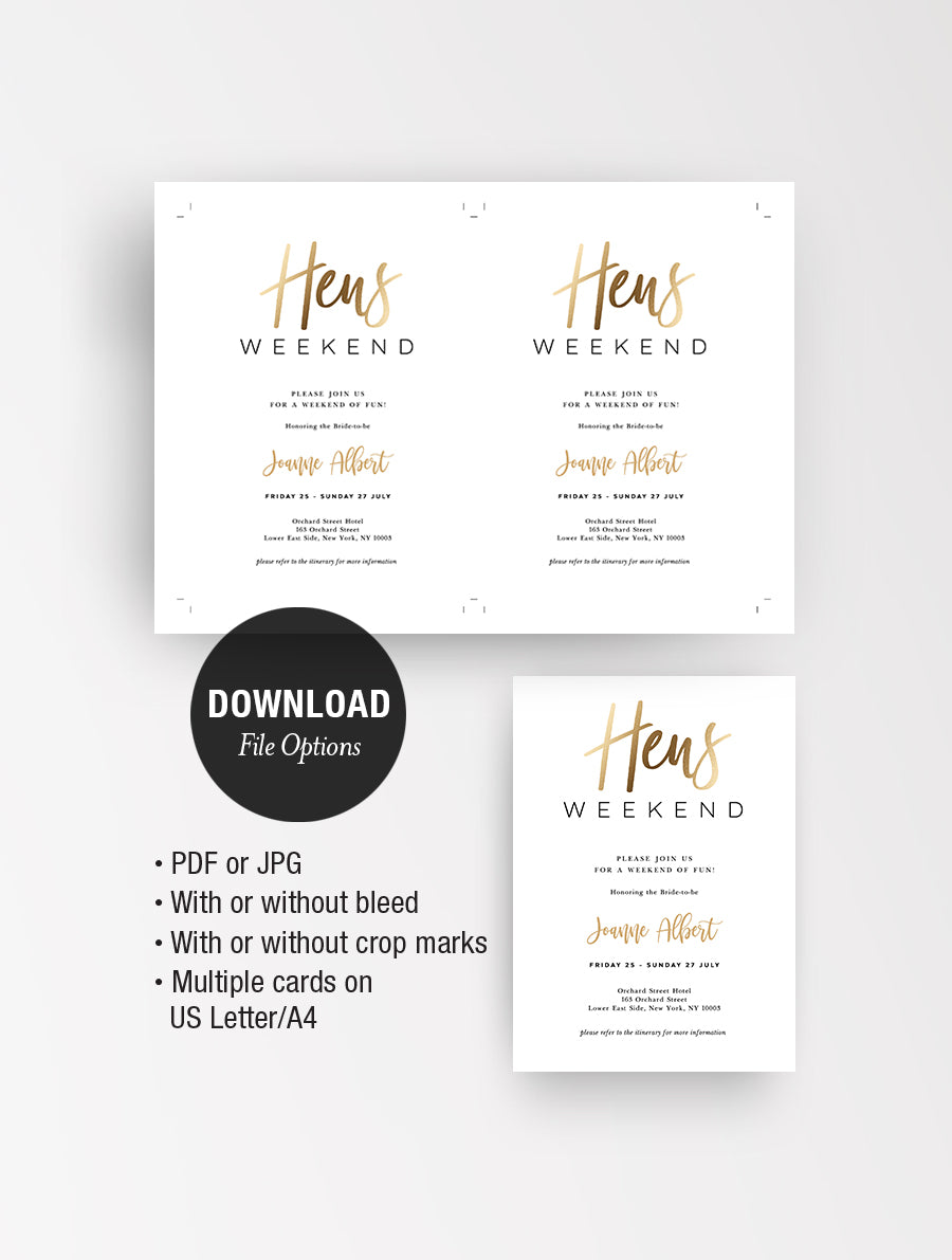Hens Weekend Invitation Gold