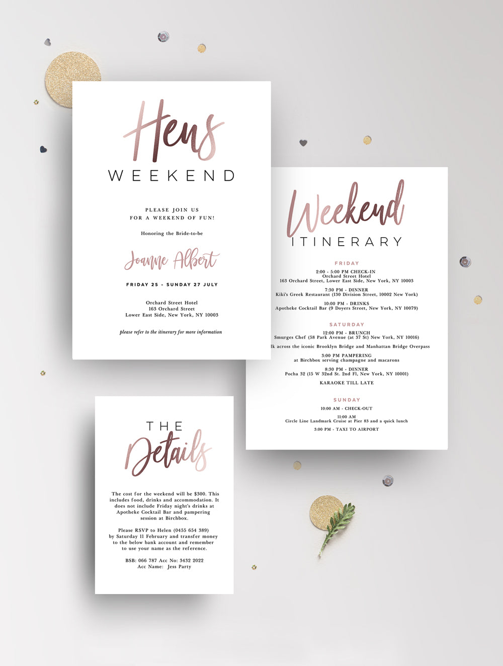 Hens Weekend Invitation Rose Gold