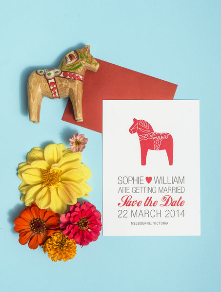 Swedish Dala Horse Save The Date