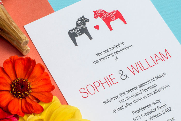 Swedish Dala Horse Wedding Invitation