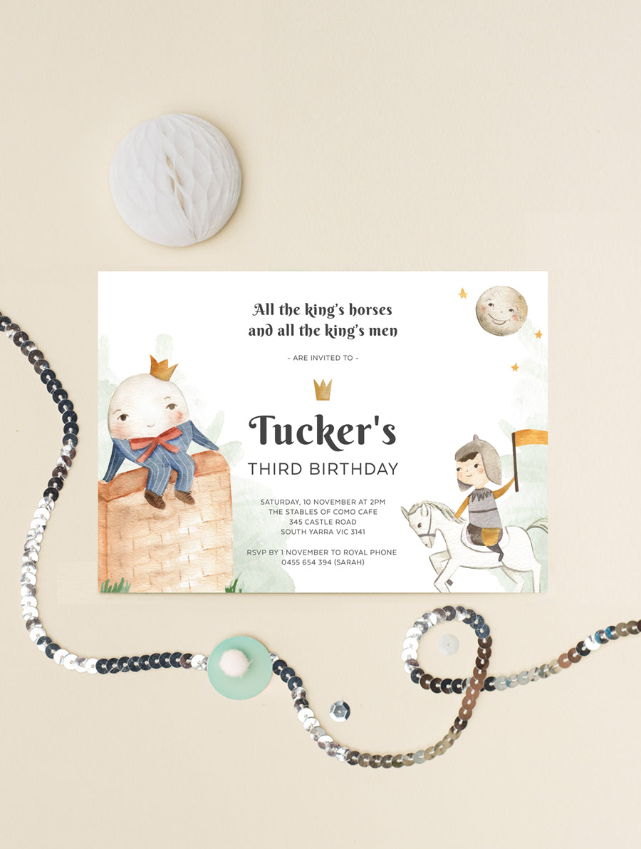 Humpty Dumpty Birthday Invitation Boy