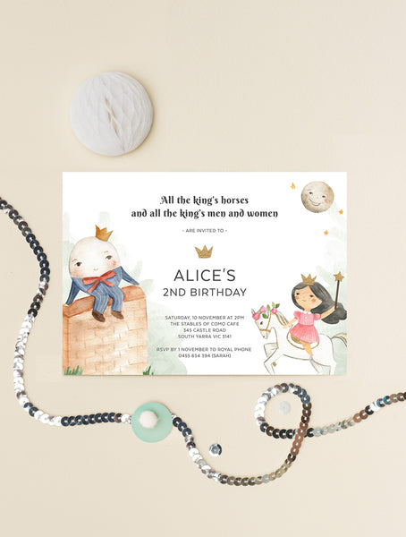 Humpty Dumpty Birthday Invitation Girl