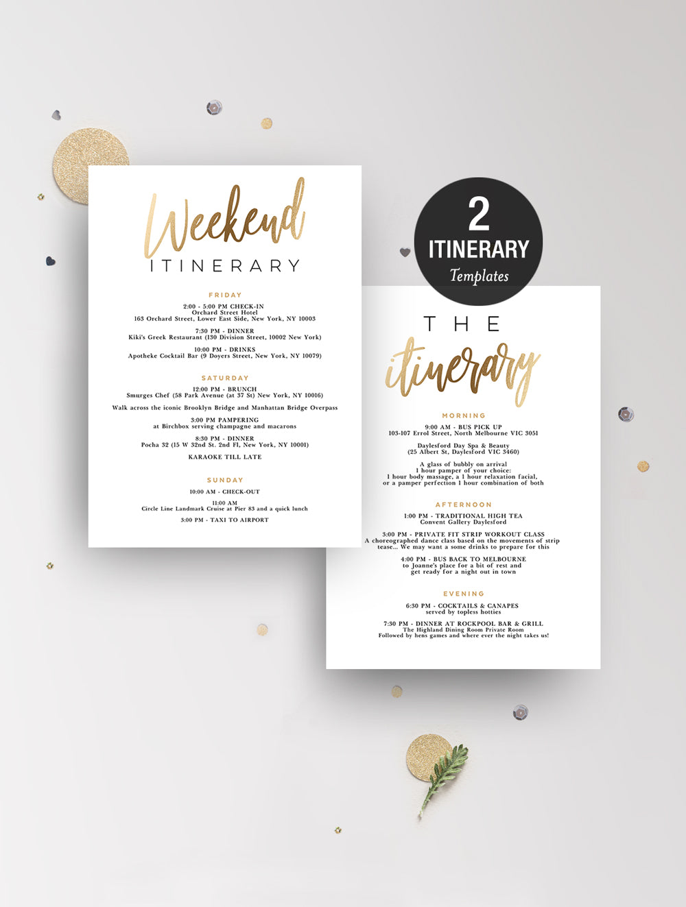 Itinerary - Gold