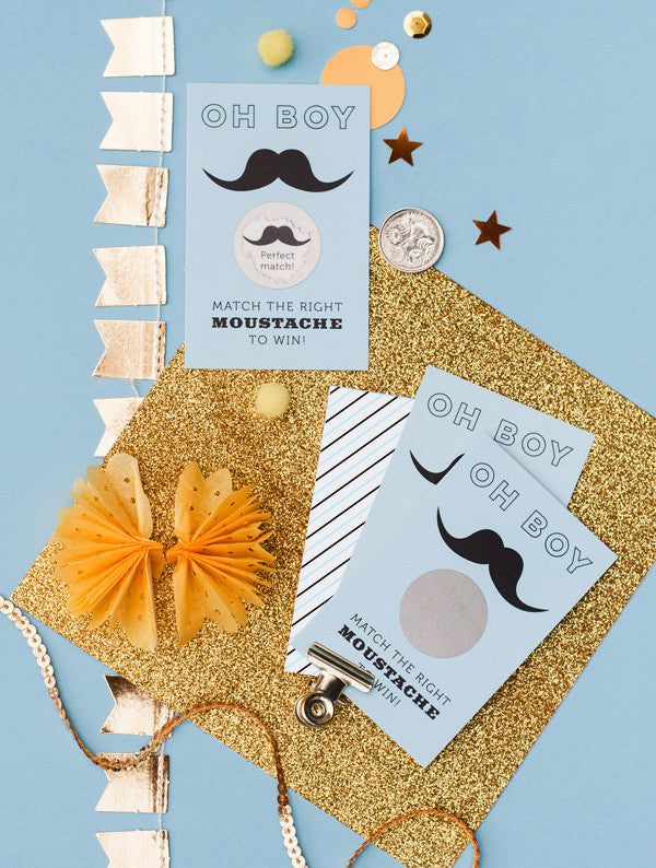 Oh Boy Moustache Scratch Off Cards