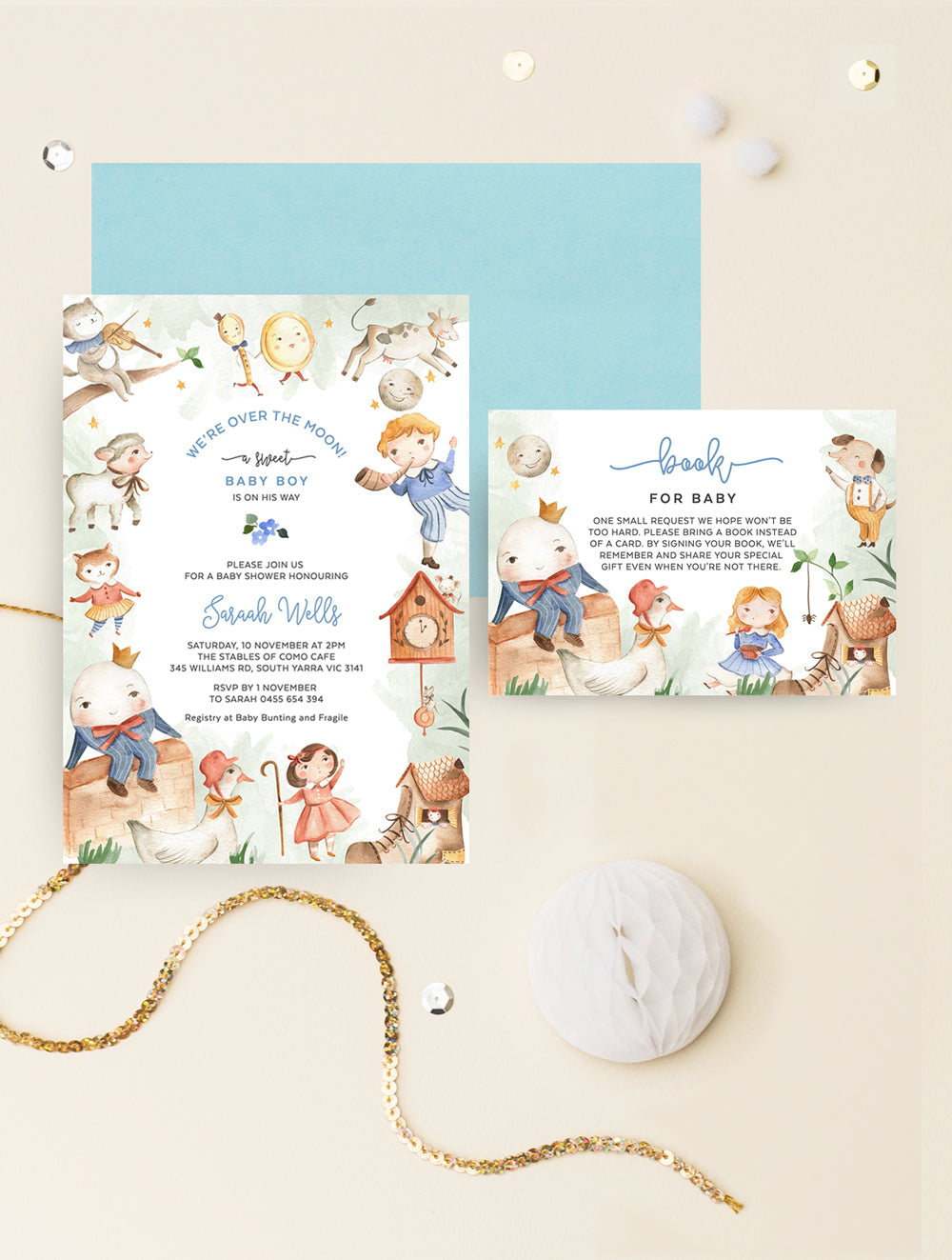Nursery Rhyme Baby Shower Invitation 2P NRHY01 Blue