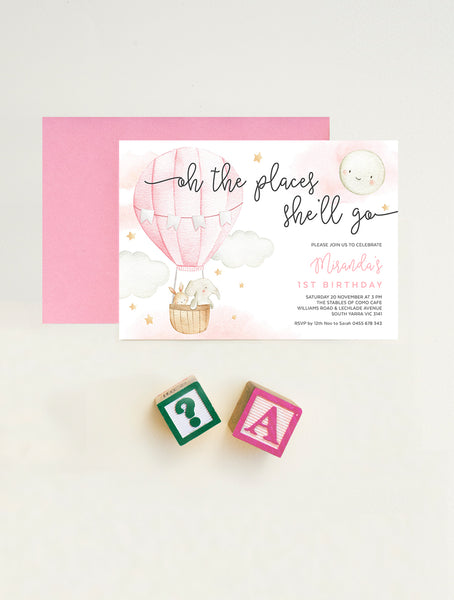 Oh The Places She'll Go Birthday Invitation