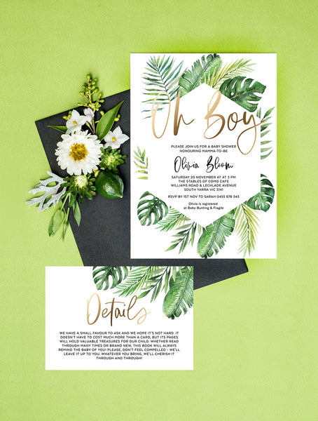 Geometric Tropical Oh Boy Shower Invitation 2P #TROP03