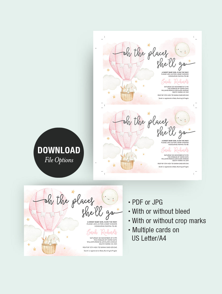 Oh The Places She'll Go Baby Shower Invitation 3P Pink