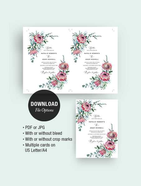 Protea Wedding Invitation Set #PRO1 2