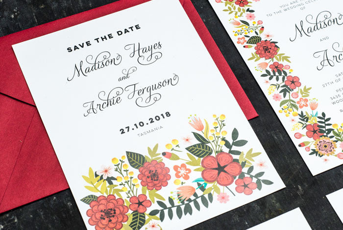 Red Blooms Wedding Set
