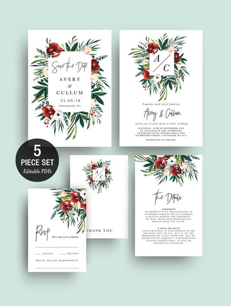 INSTANT DOWNLOAD Red Flowers Greenery Bohemian