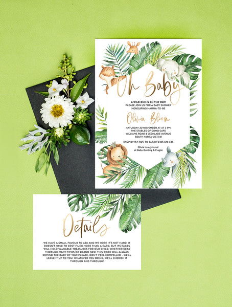 Safari Animals Oh Baby Shower Invitation 2P SAF01