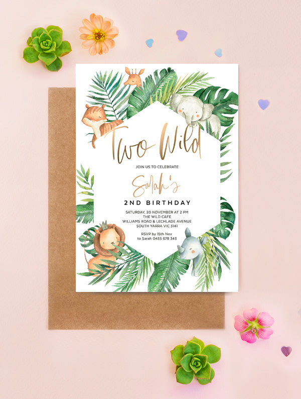 Two Wild Safari Animals Birthday Invitation #SAF01